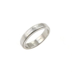 Cartier Tiffany Co. Signature Platinum Milgrain 4mm Wide Wedding Band Ring