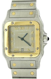 Cartier Authentic Cartier Santos Midsize 29mm Stainless Steel & 18k Solid Yellow Gold Two Tone Silver Dial Quartz Watch