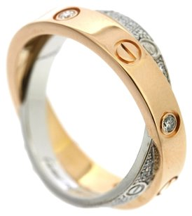 Cartier CARTIER 18K Pink/White Gold love diamond Ring US SIZE 4.75