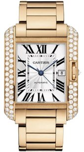 Cartier Cartier 18k Rose Gold & Diamond Tank Anglaise Men's Watch