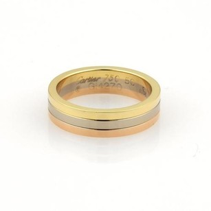 Cartier Cartier 18k Tri-color Gold 5mm Triple Stack Band Ring Eu 50-us 5.25