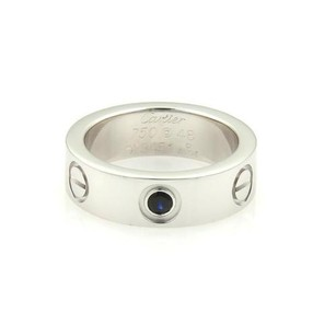 Cartier Cartier 18k White Gold 1 Blue Sapphire 5.5mm Love Band Ring 48-us