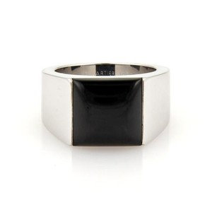 Cartier Cartier 18k White Gold Black Onyx Square Top Tank Ring Eu 53-us Wcert.
