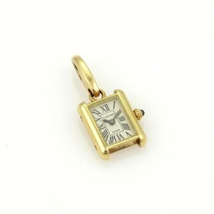 Cartier Cartier 18k Yellow Gold Tank Watch Charm Pendant Sapphire Crown