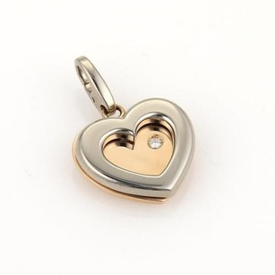 Cartier Cartier Diamond 18k Rose White Gold Double Hearts Pendant 48300