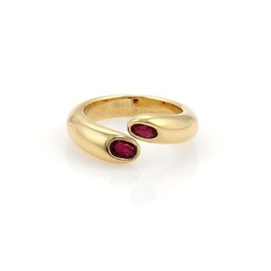 Cartier Cartier Gold Ellipse Deux Tetes Croisees Rubies 18k Gold Bypass Ring 51
