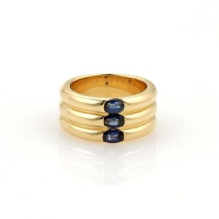 Cartier Cartier 1.10ct Sapphire 18k Yellow Gold 10mm Triple Stack Band Ring 5.75