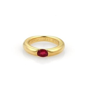 Cartier Cartier Ellipse Oval Ruby 18k Yellow Gold Band Ring Eu 49-us Wcert