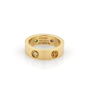 Cartier Cartier Love Multicolor Saphhires 18k Yellow Gold Band Ring 51-us