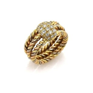 Cartier Cartier Diamond 18k Tri-color Gold Cable Wire Stack Band Ring-size 50-us