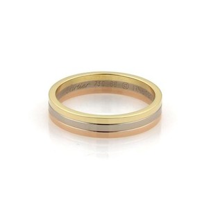 Cartier Cartier 18k Tri-color Gold Triple Stack Wire 5mm Band Ring Eu 66-us