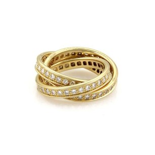 Cartier Cartier Full Circle Diamond 18k Ygold Rolling Band Ring Eu 52-us