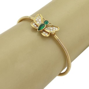 Cartier Vintage Cartier Diamond Emerald 18k Yellow Gold Butterfly Flex Bangle Bracelet