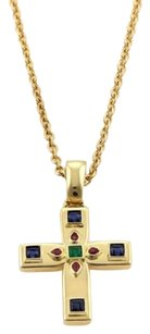 Cartier Cartier Byzantine Multi-color Gems 18k Yellow Gold Cross Pendant Necklace