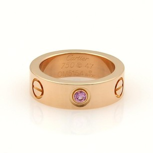 Cartier Cartier Love 18k Rose Gold 1 Pink Sapphire 5.5mm Band Ring 47-us Cert