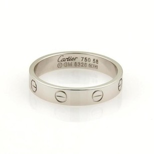 Cartier Cartier Mini Love 18k White Gold 4mm Wide Band Ring 58-us Wcert