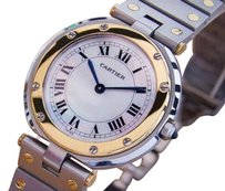 Cartier Cartier Santos Men Unisex 32mm 18k Gold And Ss Swiss Made Quartz Watch 2000 J778