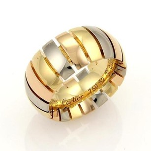 Cartier Cartier Tubogas 18k Tri-color Gold 10mm Dome Band Ring - Eu 5.75