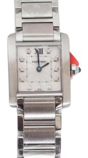 Cartier Cartier Womens Tank Francaise 3217 Silver Diamond Square We110006 Watch