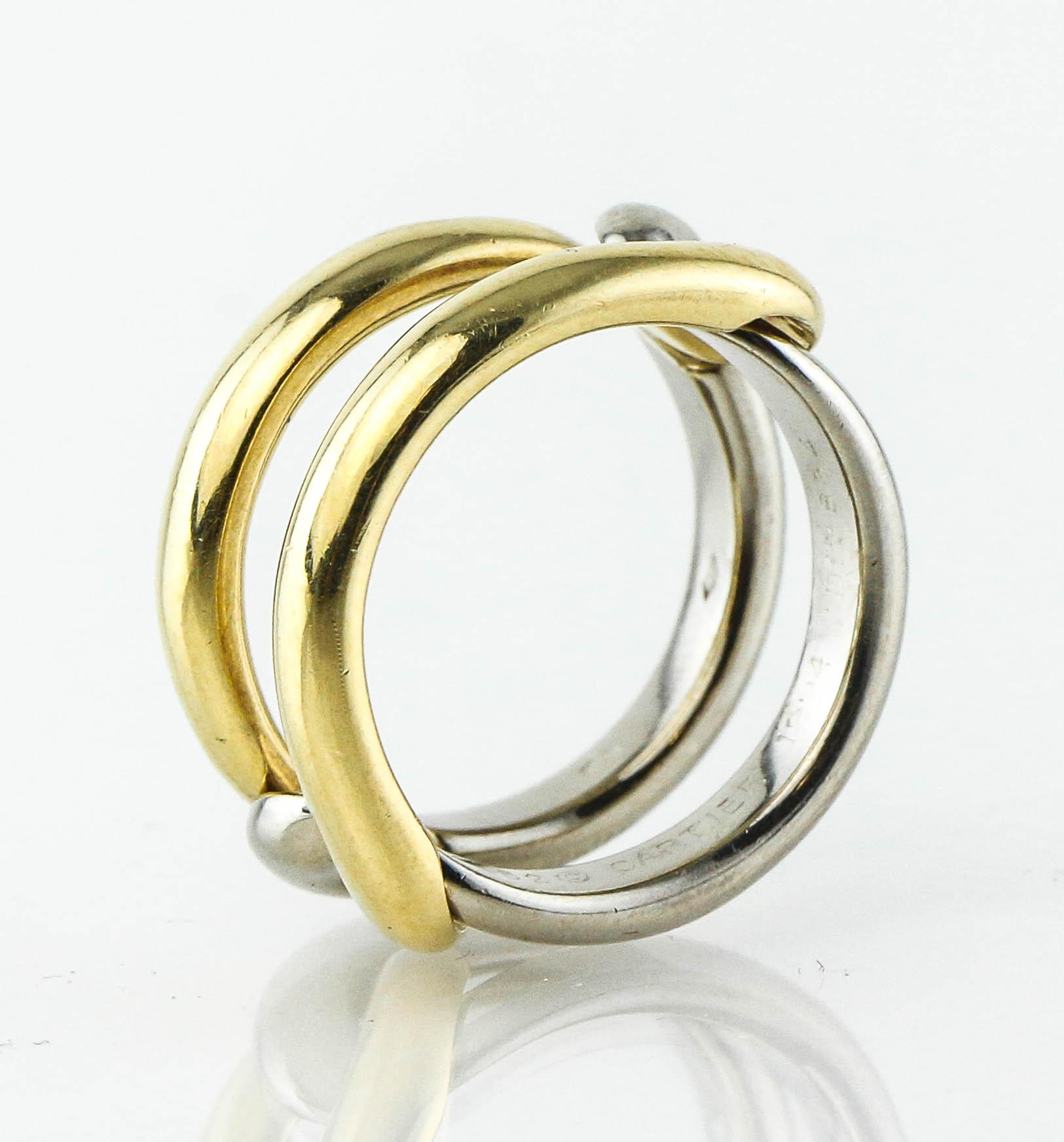 cartier collectible rare vintage eternity two tone 18k gold ring