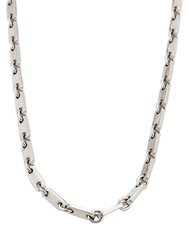 cartier white gold fidelity design 18k flat bar link chain