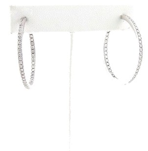 Cartier 13389 - Cartier 1.60ct Inside Out Diamond 18k White Gold Hoop Earrings