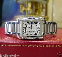 Cartier Ladies Cartier Tank Anglaise W5310022 Steel Roman Numeral Watch With Boxpapers