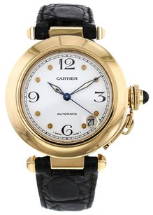 Cartier Ladies Pasha 35mm 18k Yellow Gold Watch with Black Leather Strap CRTPY30