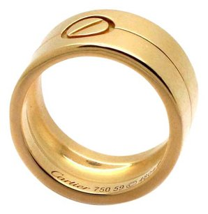 Cartier Love Double wide rare 18K Gold Tanker Ring Size 59