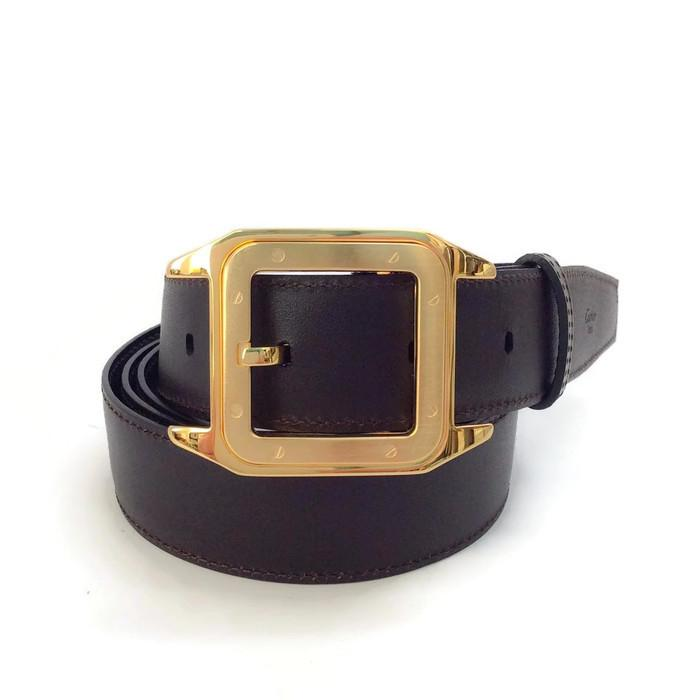 cartier s brown belt with gold buckle 42 retail