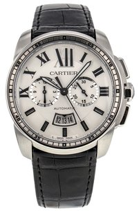 Cartier Men's Calibre de Cartier W7100046 42mm Stainless Steel Chronograph Watch with Leather Strap CRTSC3