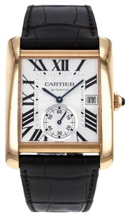 Cartier Men's Tank MC W5330001 35mm Watch in 18K Rose Gold with Brown Leather Strap CRTRTMC