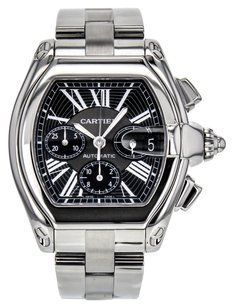 Cartier Men's XL Roadster Chronograph W62020X Watch in Stainless Steel with Black Dial CRTSR86