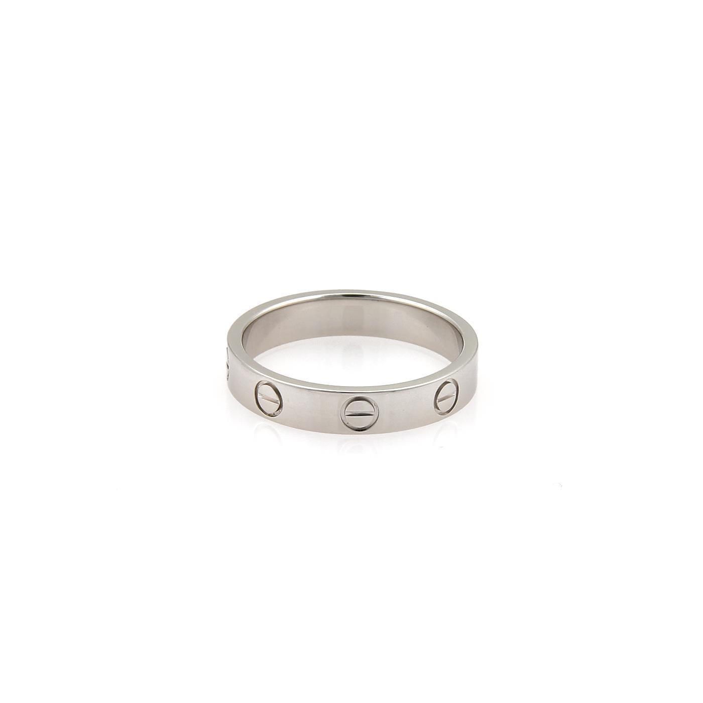 Cartier Platinum: Cartier Platinum Mini Love 3.5mm Wide Band Size Eu 53-us 6