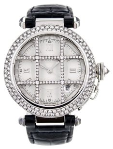 Cartier Pasha Grid 38mm 18K White Gold Automatic Watch with Factory Diamond Bezel CRTPW8