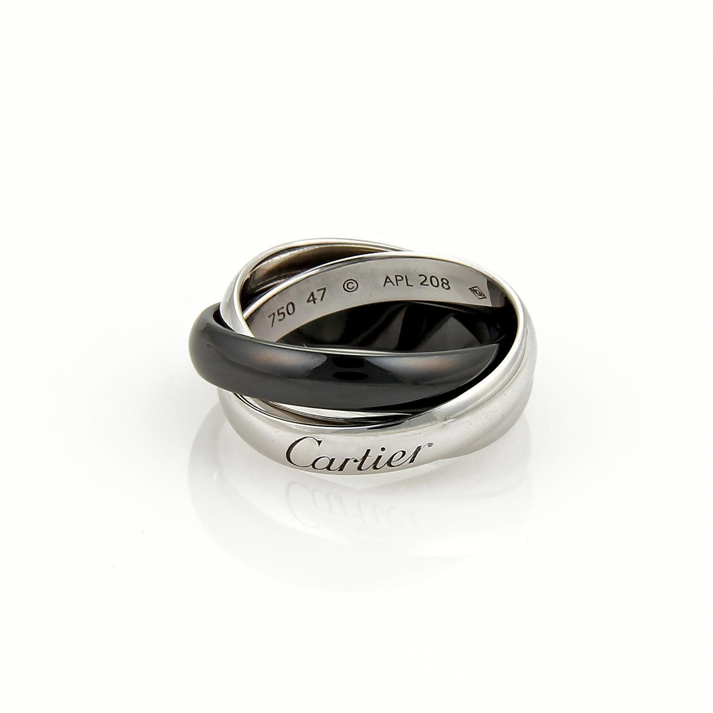 cartier trinity 18k white gold ceramic 35mm rolling band ring size eu 47us 123