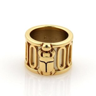 Cartier Vintage Cartier 18k Two Tone Gold Wide Scarab Band Ring Eu 50-us