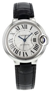 Cartier Women's Ballon Bleu 33mm W6920085 Stainless Steel Watch with Leather Strap CRTSBB7