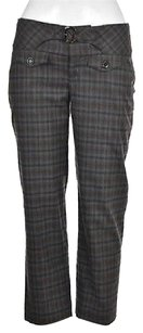 Cartonnier Womens Gray Brown Cropped Plaid Casual Trousers Capri/Cropped Pants Multi-Color