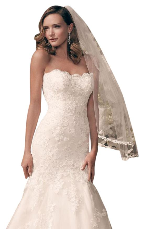 Casablanca Ivory Non Beaded And Embroidered Lace Appliques On Tulle Over  Silky Satin 2163 Formal ...