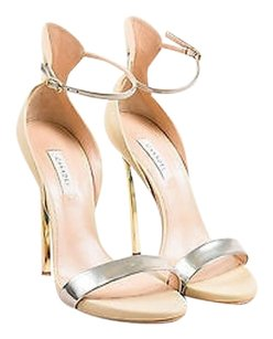 Casadei Metallic Silver Cream Sandals