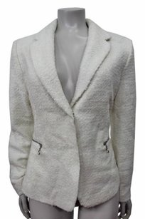 Catherine Malandrino Wool Blend Textured Blazer Ivory Jacket