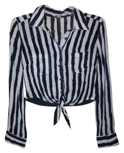 Cecio Crop Tie Stripes Button Up Button Down Shirt Navy/White