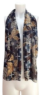 Cejon Womens Cejon Gray And Beige Floral Scarf 10 X 58