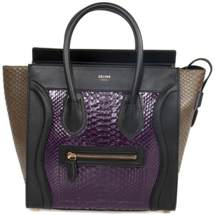 Céline Micro Python Handbag Black Leather Tote in Purple and Taupe