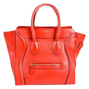 Céline Drummed Grained Leather Paneled Mini Luggage Tote in Red