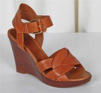 Céline Women Cognac Leather Wedge Sandal Brown Platforms