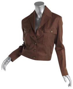 Céline Metallic Cotton Button Front Short Coat Brown Jacket