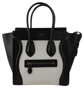 Cline Bicolor Two-tone Satchel in Black & White