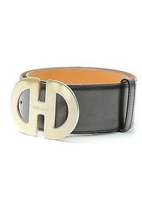 Céline Celine Black Leather Gold-tone Buckle Belt Size 70